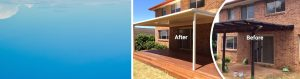 Sydney house roof gutter renovation, before and after result