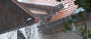 roof gutter incorrect rain fall in the entrance